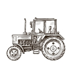 Farm tractor sketch hand drawn vector