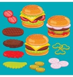 Hamburger and cheesburger ingredients Set vector image vector image