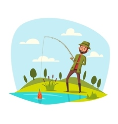 Man fishing with rod catching fish on hook vector