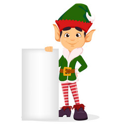 merry christmas and happy new year elf standing vector image