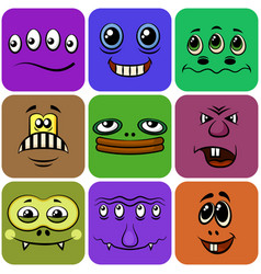 monster smileys set vector image vector image