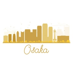 Osaka city skyline golden silhouette vector