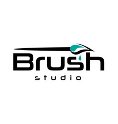 painting brush logo vector image vector image