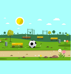 park with football ball vector image vector image
