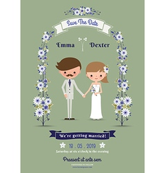 Rustic cartoon couple wedding card vector
