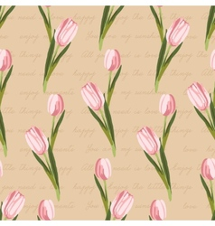 Seamless vintage pattern with painted flowers vector image vector image