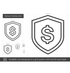 Secure money line icon vector image vector image