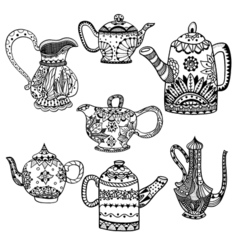 Set teapot isolated vector
