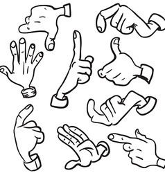 simple black and white hands vector image