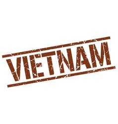 Vietnam brown square stamp vector