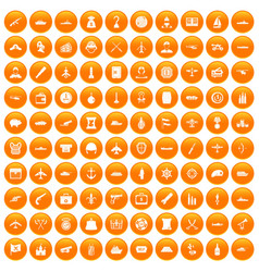100 combat vehicles icons set orange vector
