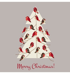 Retro christmas card - winter birds on christmas t vector