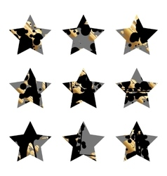 Grunge black and goldstar vector