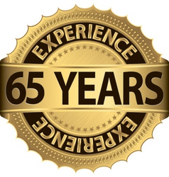 65 years of experience golden label vector