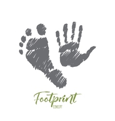 Hand drawn footprint and handprint with lettering vector image
