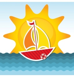 Sailing boat on the sea vector