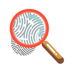 Fingerprint with magnifying glass isolated on vector