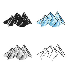 Mountain range icon in cartoon style isolated on vector