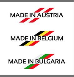 Set logos made in austria made in belgium vector