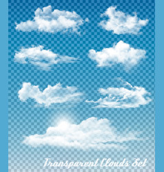 set of white clouds on a transparent sky vector image