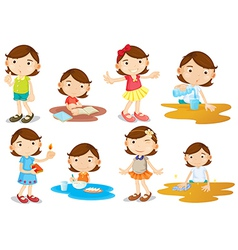 A young girls daily activities vector image