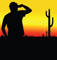 Man looks in the desert black silhouette vector