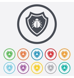 Shield sign icon virus protection symbol vector