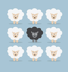 Black sheep in the crowd vector