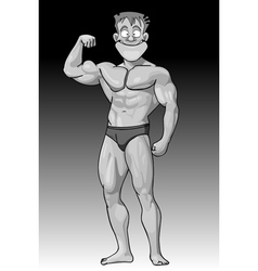 Cartoon funny guy beefy bodybuilder vector