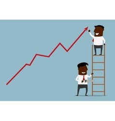 Businessman standing at the top of a ladder vector