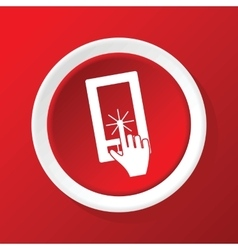 Touching screen icon on red vector
