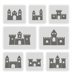 Monochrome icons with different castles vector