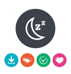 Sleep sign icon moon with zzz button vector