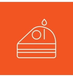 Slice of cake with candle line icon vector