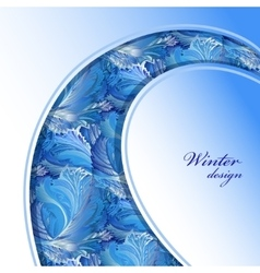 Winter frozen glass background swirl border vector