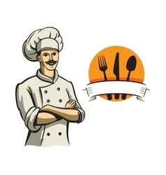 Color happy chef vector