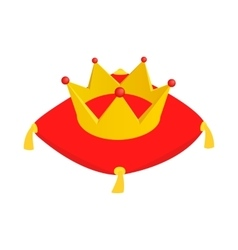 Crown on red velvet cushion icon vector image