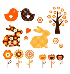 Retro spring easter design vector image