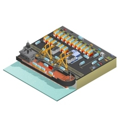 Isometric marine cargo transportation vector