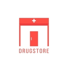 Pharmacy logotype with red drugstore building vector