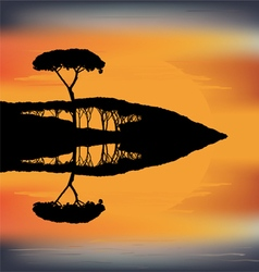 Sunset trees reflect together with sky in the wat vector