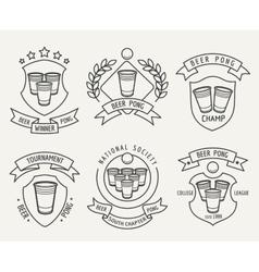 Beer pong line logo set vector