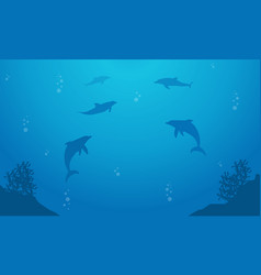 Blue sea with dolphin landscape silhouette vector