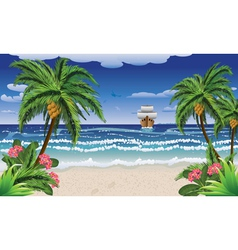 Cartoon boat and beach vector image vector image
