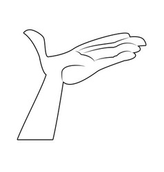 Cartoon hand man open palm support vector