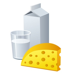cheese and milk vector image vector image