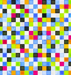 colored squares seamless pattern with grunge vector image