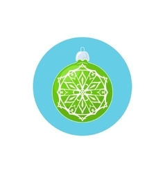 Colorful icon green ball with snowflake vector