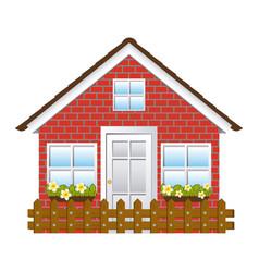 comfortable facade house with garden and wooden vector image