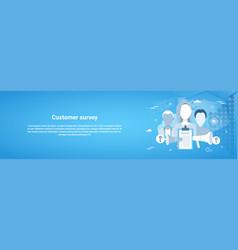 customer survey web horizontal banner with copy vector image vector image